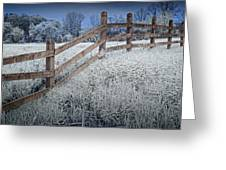 Wooden Fence Of A Friesian Horse Pasture On Windmill Island Greeting Card