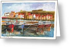 Wooden Fishing Boats In The Whitby Fleet Of Northern England Greeting Card