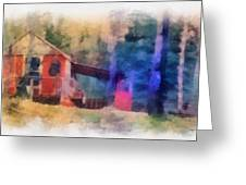 Wooden Fishing Hunting Cabin Photo Art Greeting Card