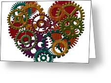 Wooden Gears Forming Heart Shape Illustration Greeting Card