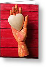 Wooden Hand With White Heart Greeting Card