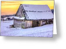 Wooden Hut In Sunset Greeting Card