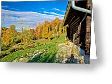 Wooden Lodge In Autumn Mountain Nature Greeting Card