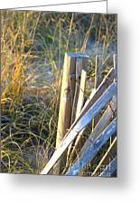 Wooden Post And Fence At The Beach Greeting Card