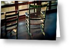 Wooden Rocking Chairs On A Deck Greeting Card