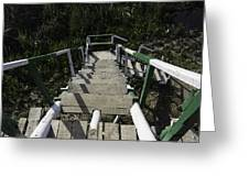 Wooden Steps Coming Down From A Watchtower Greeting Card