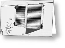 wooden sun shutter blinds on windows of house with roses in the garden in tacoronte Tenerife Canary Islands Spain Greeting Card