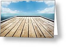 Wooden Surface Sky Background Greeting Card