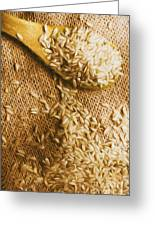 Wooden Tablespoon Serving Of Uncooked Brown Rice Greeting Card