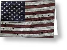 Wooden Textured Usa Flag3 Greeting Card