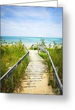 Wooden Walkway Over Dunes At Beach Greeting Card