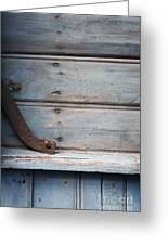 Wooden Wall In Blue Greeting Card