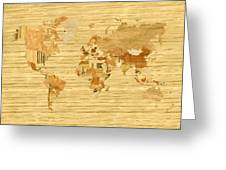 Wooden World Map 2 Greeting Card