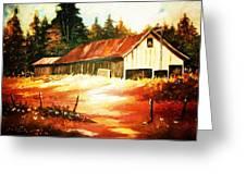 Woodland Barn In Autumn Greeting Card