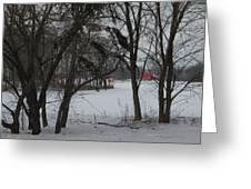 Woodland Farm In Winter Greeting Card
