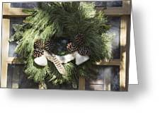Wool And Feather Wreath Greeting Card