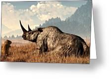 Woolly Rhino And A Marmot Greeting Card
