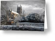 Worcester Cathedral Cloudy Greeting Card