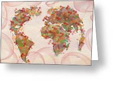 Word Map Digital Art Greeting Card