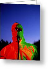 Worker In A Chemical Spillage Suit With A Gas Mask Greeting Card