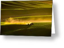 Working The Fields In The Palouse Greeting Card