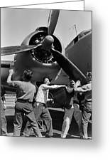 Workmen Spin Propeller Pv-1 Greeting Card
