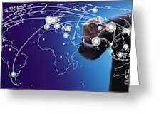 World Economies Map Greeting Card by Atiketta Sangasaeng