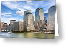World Financial Center And The Manhattan Waterfront Greeting Card by Mark E Tisdale