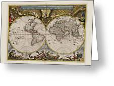 World Map 1664 Ad With Small Matching Border Greeting Card