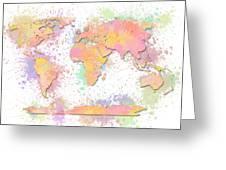 World Map 2 Digital Watercolor Painting Greeting Card