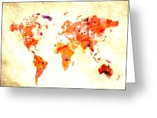 World Map 2d Greeting Card