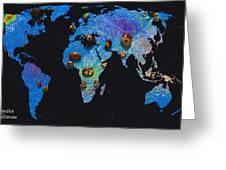 World Map And Sagittarius Constellation Greeting Card