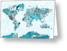 World Map Blue Collage Greeting Card