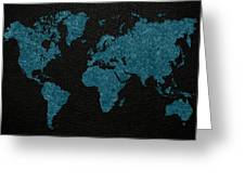 World Map Blue Vintage Fabric On Dark Leather Greeting Card