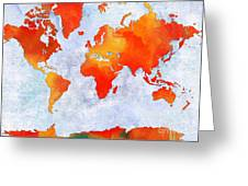 World Map - Citrus Passion - Abstract - Digital Painting 2 Greeting Card