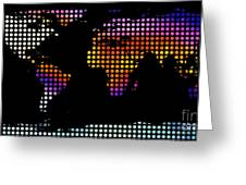 World Map Colourful Dots #2 Greeting Card