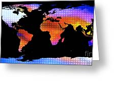 World Map Colourful Dots  Greeting Card