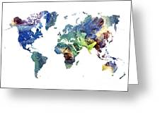 World Map Cosmos Greeting Card