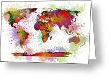 World Map Digital Watercolor Painting Greeting Card