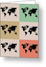World Map Grid Poster 2 Greeting Card