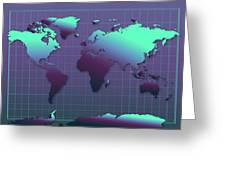 World Map In Dark Green Greeting Card