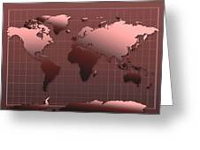 World Map In Dark Red Greeting Card