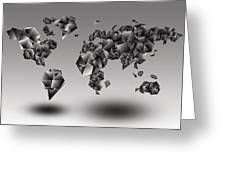 World Map In Geometic Gray  Greeting Card