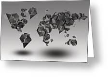 World Map In Geometric Fractal Greeting Card