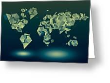 World Map In Geometric Green Greeting Card