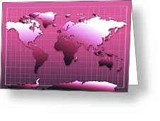 World Map In Pink Greeting Card