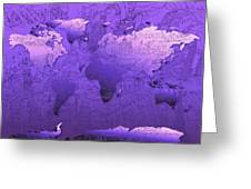World Map In Purple Greeting Card
