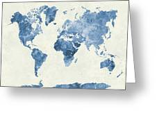 World Map In Watercolor Blue Greeting Card