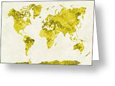 World Map In Watercolor Yellow Greeting Card