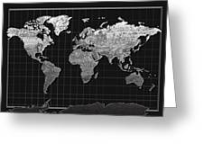 World Map Landmark Black Greeting Card